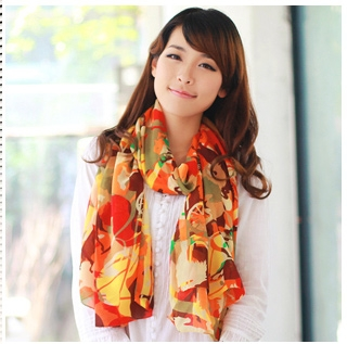 ผ้าพันคอแฟชั่นสไตส์เกาหลี ลายหลากสีโทนสีส้มแดง ผ้าชีฟอง ผ้านุ่ม ดีไซต์เก๋ไก๋ ใส่แล้วดูดีมีสไตส์