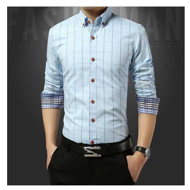 เสื้อเชิ้ตแขนยาวสีฟ้า