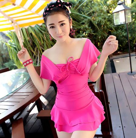 พร้อมส่ง ชุดว่ายน้ำ Tankini เสื้อตัวยาว สีชมพู shocking pink สวยๆ เซ็ต 2 ชิ้น (เสื้อ+กางเกงขาสั้น)