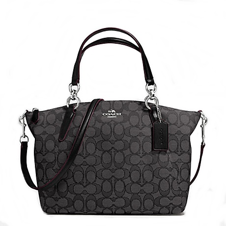 กระเป๋า COACH OUTLINE SIGNATURE SMALL KELSEY SATCHEL F36625 : SMOKE/BLACK