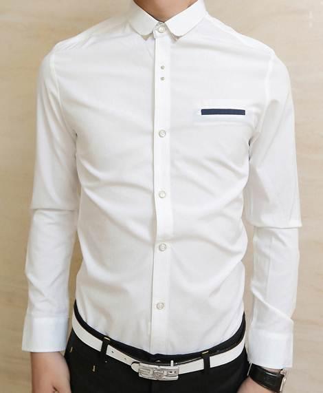 สีชมพู ขาว !!เสื้อเชิ้ตแขนยาว คลิบกระเป๋าแต่งมุมปก สี ขาว No.35