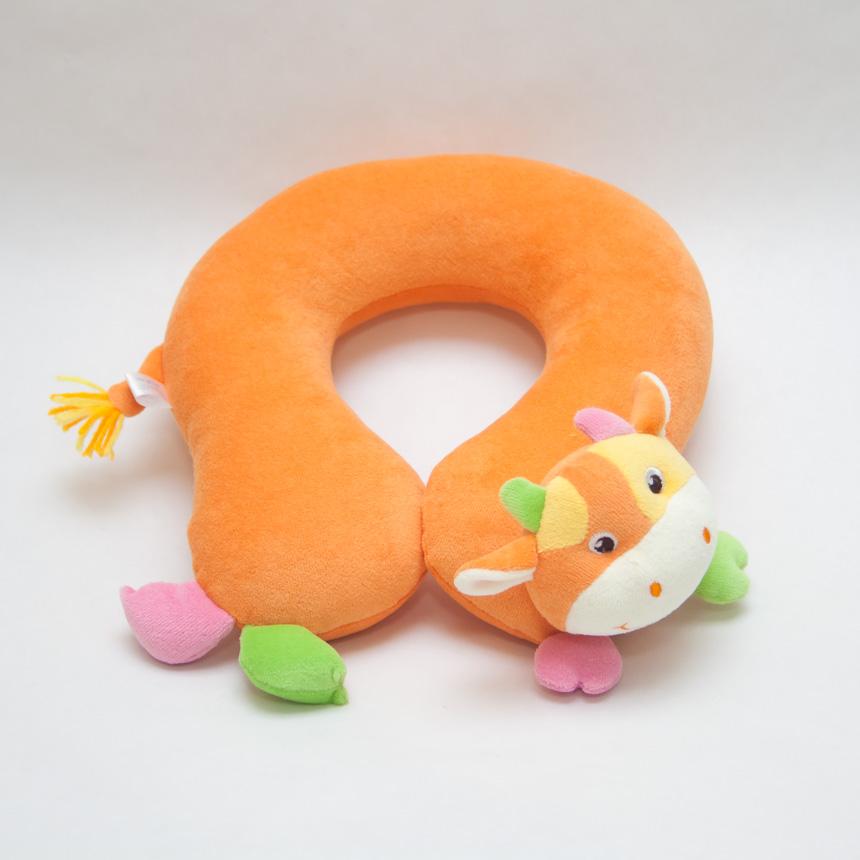 หมอนเด็ก Neck pillow หมอนรองคอ หมอนหน้าสัตว์ หมอนหน้าวัว สีส้ม (ส่งฟรี)