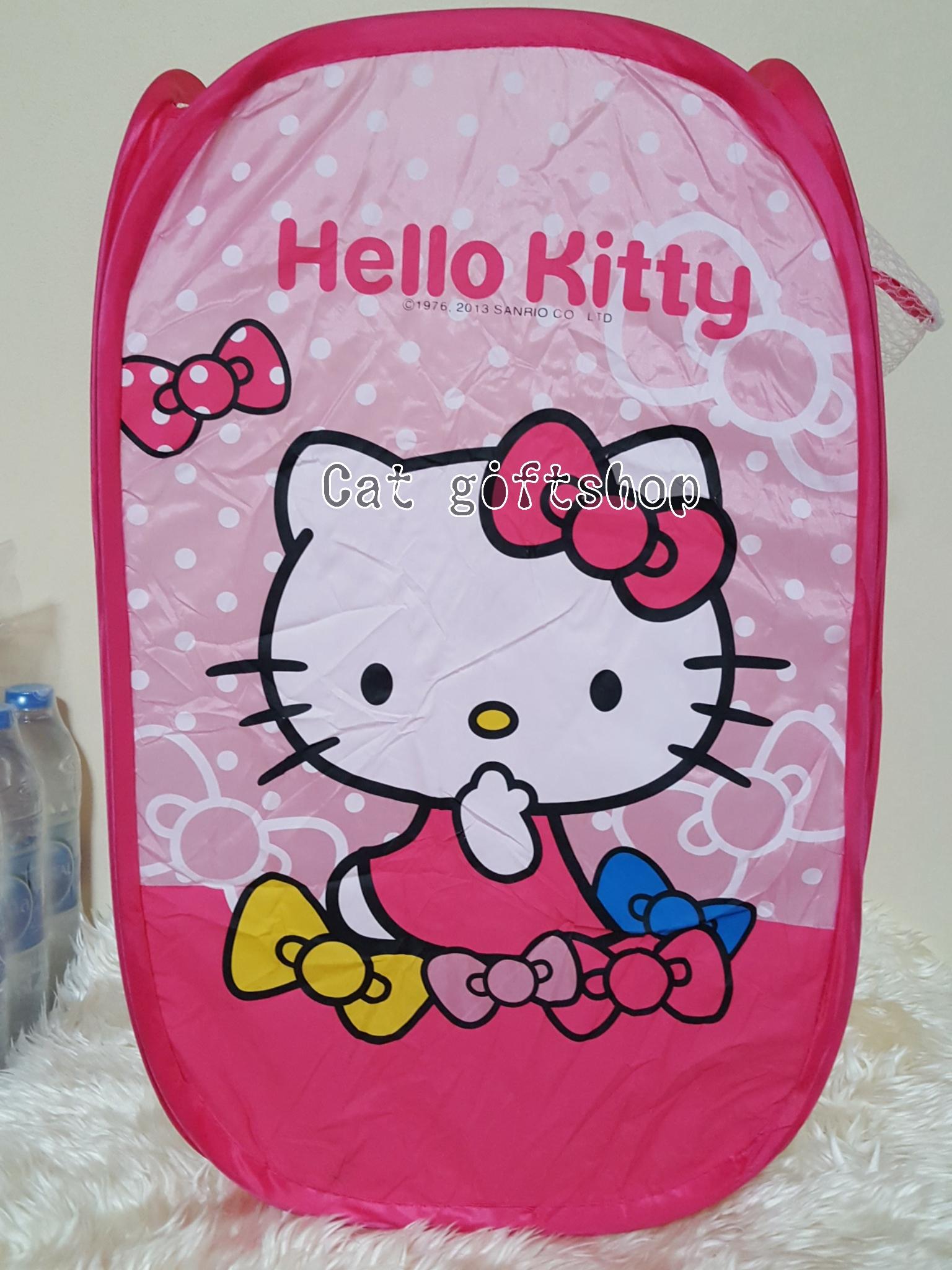 พร้อมส่ง :: ตะกร้าตาข่าย พับได้ ลาย Hello kitty