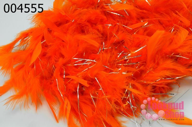 ขนนก มีดิ้น สีส้ม (1เส้น)