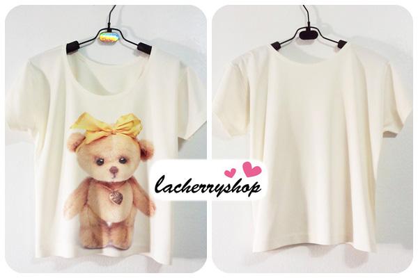 พร้อมส่งจ้า***เสื้อยืด เสื้อสกรีน เสื้อแฟชั่น สีครีม ลายตุ๊กตาหมี Teddy Bear ผูกโบว์น่ารักๆ สไตล์วินเทจค่ะ
