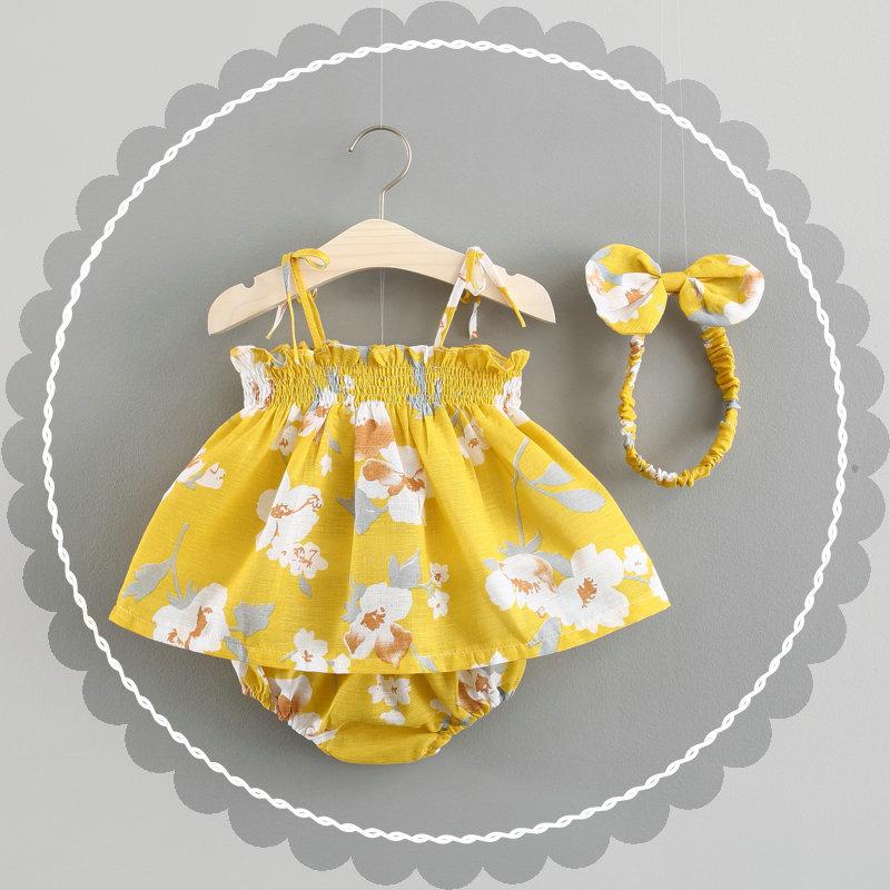 ชุดเซต 3 ชิ้นลายดอกไม้สีเหลือง แพ็ค 4 ชุด [size 6m-1y-18m-2y]