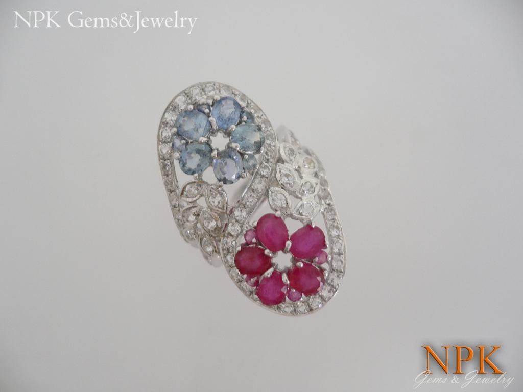 แหวนเงินทับทับทิมและไพลิน (Silver ring ruby&sapphire)