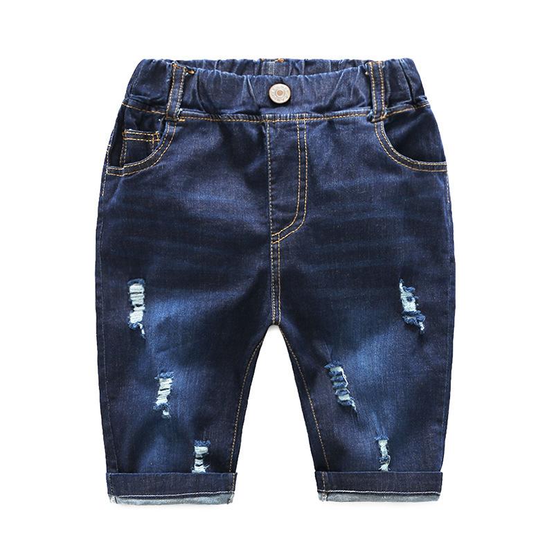 กางเกงยีนส์เด็กสีเข้มแต่งรอยข่วน แพ็ค 5 ชิ้น [size 2y-3y-4y-5y-6y]