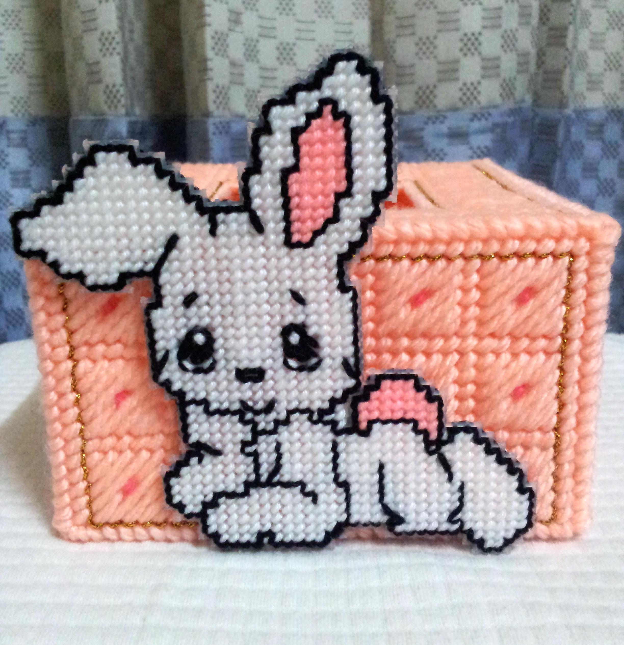 กล่องทิชชู pop-up สีโอรส ลายกระต่ายน้อย