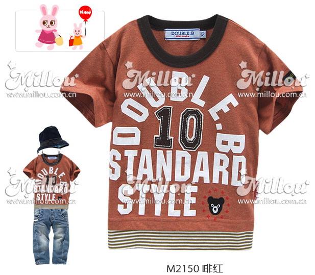 M2150-B DOUBLE.B Miki house เสื้อยืดเด็ก สีน้ำตาล ต่อชายลายริ้วสลับขาว ปักแปะเลข 10 สกรีน Double.B Standard Style Size 80/90/100/110/120