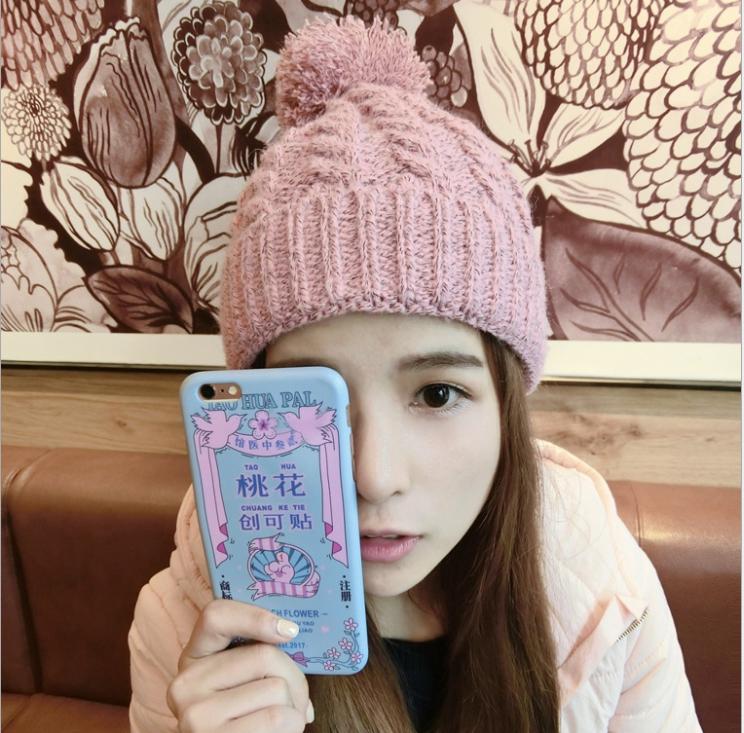 [พร้อมส่ง] H7607 หมวกไหมพรมกันหนาว สืพื้น แต่งจุกหมวกด้วยปอมๆฟูๆ So Cute
