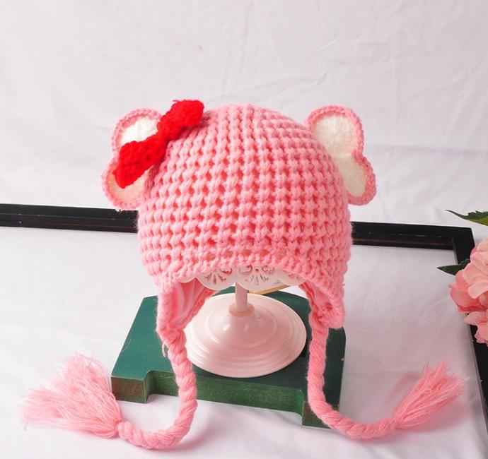 หมวก สีชมพูแพ็ค 5ใบ ไซส์ 1-3 ปี รอบศรีษะ17 * 20 ซม