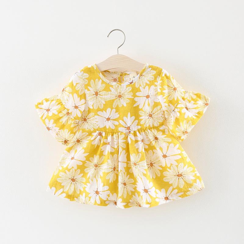 ชุดเดรสสีเหลืองลายดอกไม้ [size 6m-1y-18m-2y]
