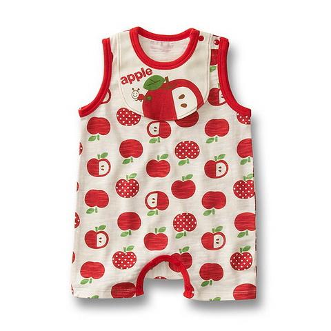 BS002 BUSHA เเสื้อผ้าเด็ก ชุดหมี บอดี้สูท แฟนซี เนื้อนิ่ม ลายแอปเปิ้ล เหลือ Size 95
