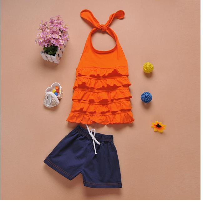 เสื้อ+กางเกง สีส้ม แพ็ค 5ชุด ไซส์ 90-100-110-120-130