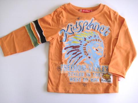 KPTL004L Kidsplanet เสื้อผ้าเด็กชาย เสื้อยืดแขนยาว สีส้ม สกรีนลายอินเดียนแดง Freedom Valley เหลือ Size 5Y