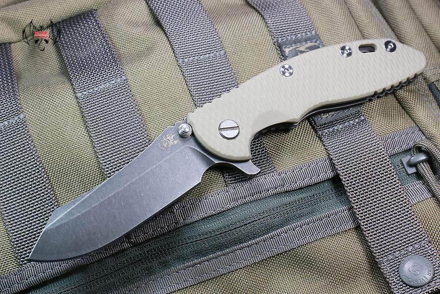"""RHK XM18 3.5"""" Skinner Battle Black Blade Sand G-10"""