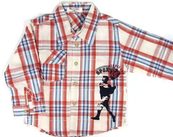 SH006 เสื้อเชิ้ตเด็กแขนยาว ผ้าคอตตอน ลายตารางสีแดง น้ำเงิน ครีม กระเป๋าตรงอก สกรีน International Sport Winner Cup เหลือ Size 8/10/12