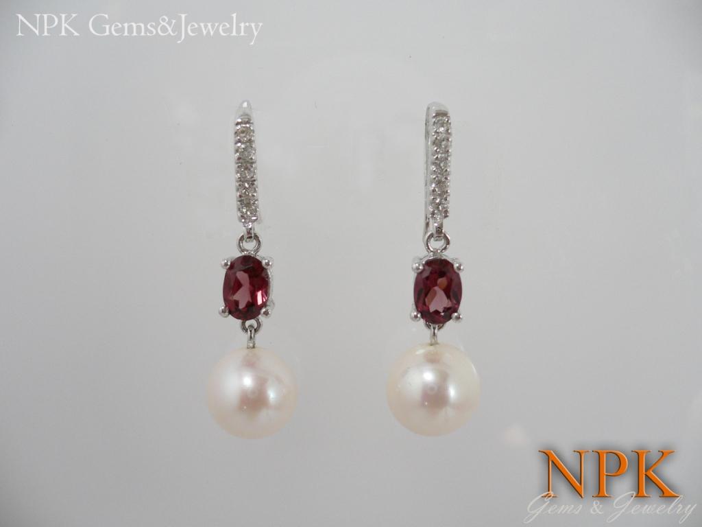 ต่างหูเงินทับทิม(Silver earring ruby)