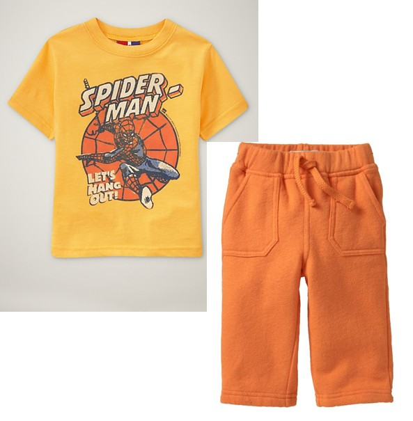 PJA063 เสื้อผ้าเด็ก ชุดลำลอง Spiderman Let's Hang Out! แนวสปอร์ต baby Gap Made in Malasia งานส่งออก USA Size 18m
