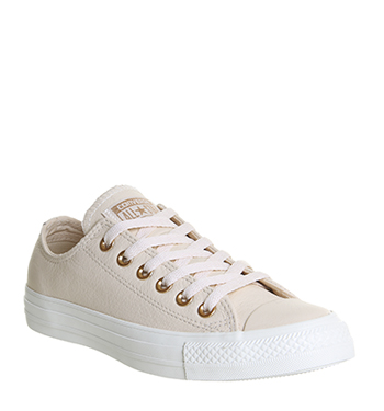 Converse All Star Low Leather Egret Pastel Rose Tan Blush Gold Exclusive