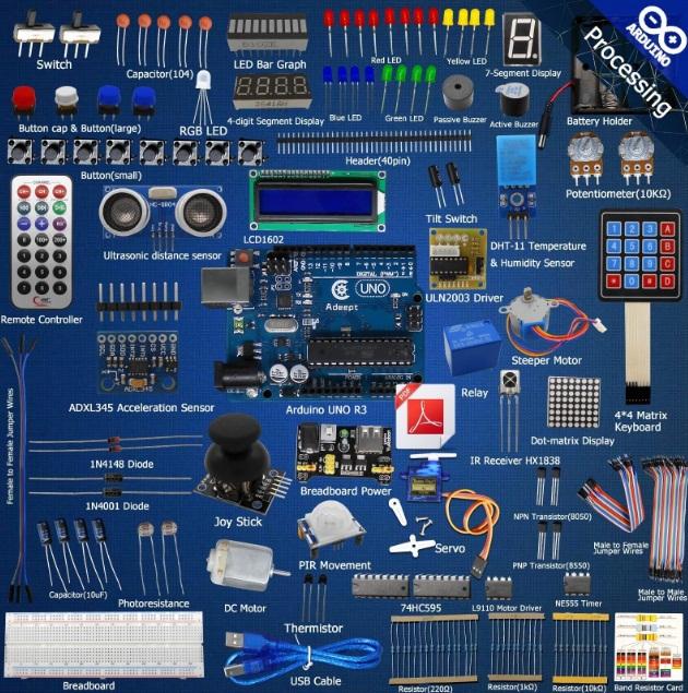 ุชุดเรียนรู้ Adeept Ultimate Starter learning Kit for Arduino UNO R3 LCD1602 Servo processing