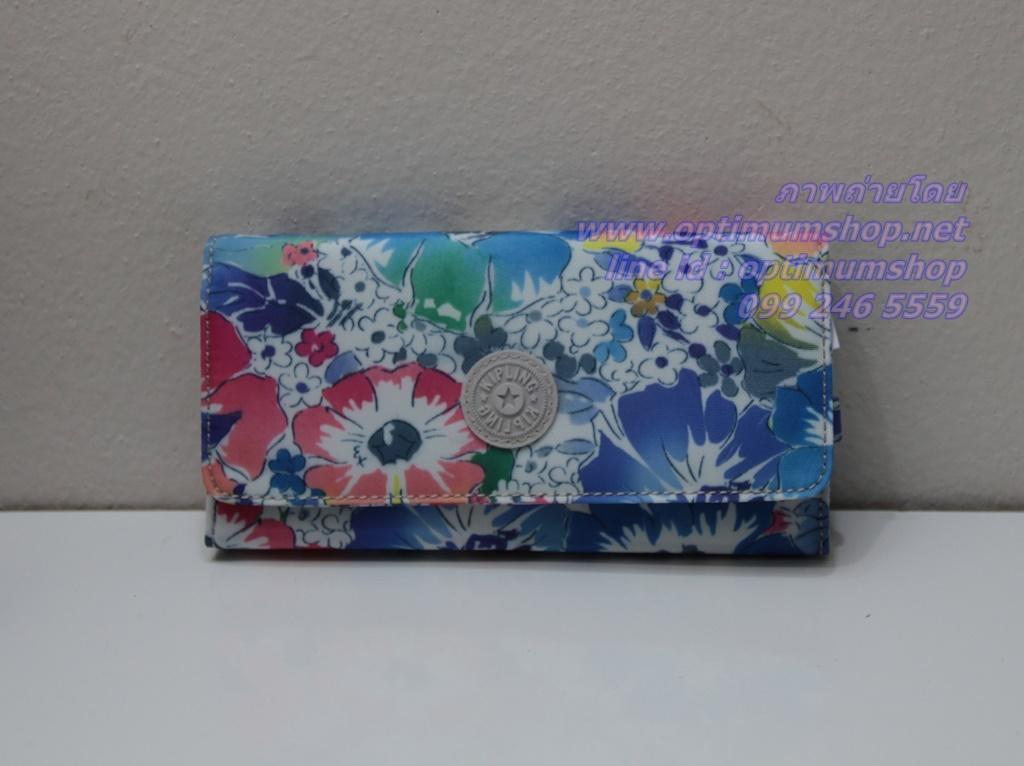 Kipling New Teddi In Bloom หรือชื่อเดิม Brownie In Bloom กระเป๋าสตางค์ใบยาว ขนาด 7.5x3.75x1xนิ้ว