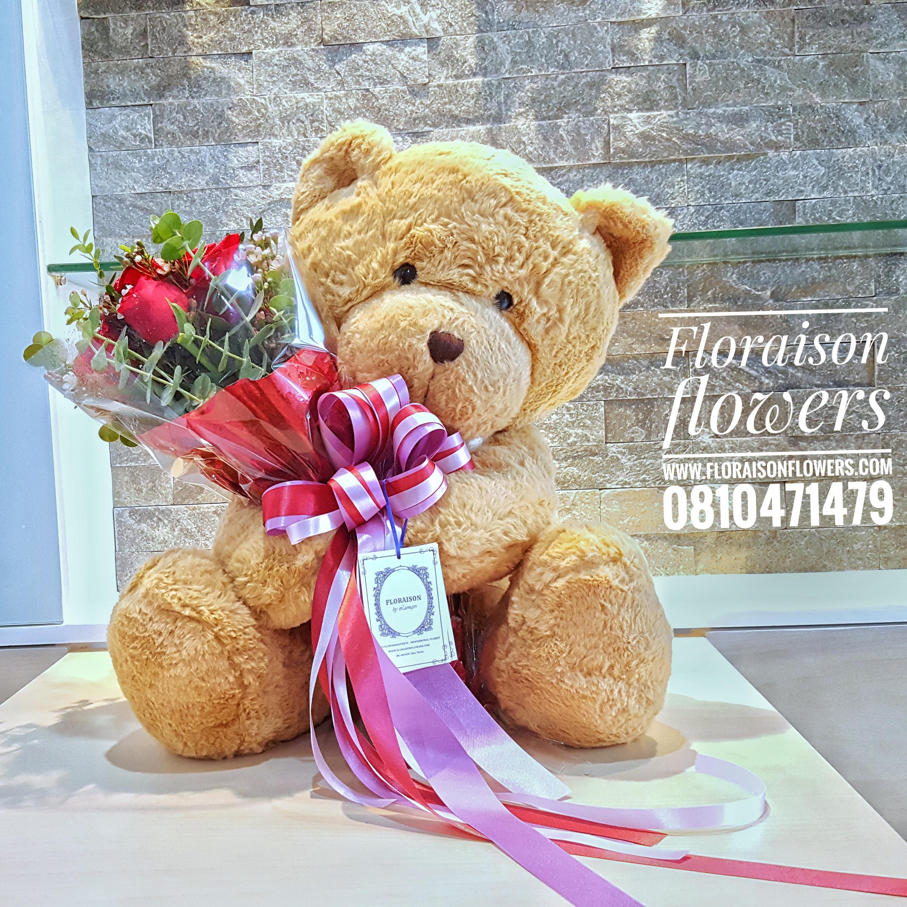 หมีกอดช่อดอกไม้วันเกิด (L)