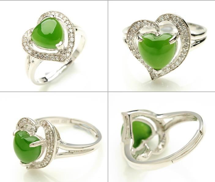 แหวนหยกรูปหัวใจ ฝังเพทายจากออสเตรีย