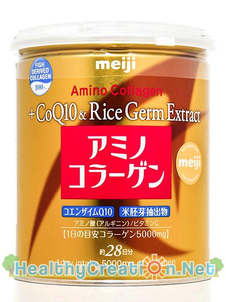 Meiji Amino Collagen CoQ10 & Rice Germ Extract น้ำหนักสุทธิ 200 g. [สีทอง] เหมาะกับวัย 30+ ดูแลริ้วรอยและสร้างความนุ่มเนียนให้กับผิว