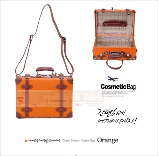 กระเป๋าสะพายดีไซน์วินเทจเรโทร สีส้มคาดน้ำตาล Orange Brown Classic Original มีไซส์ 10, 12, 14, 18, 20, 22, 24, 28, 30 นิ้ว PU high grade งาน Made to Order ราคาสินค้าอยู่ด้านในค่ะ