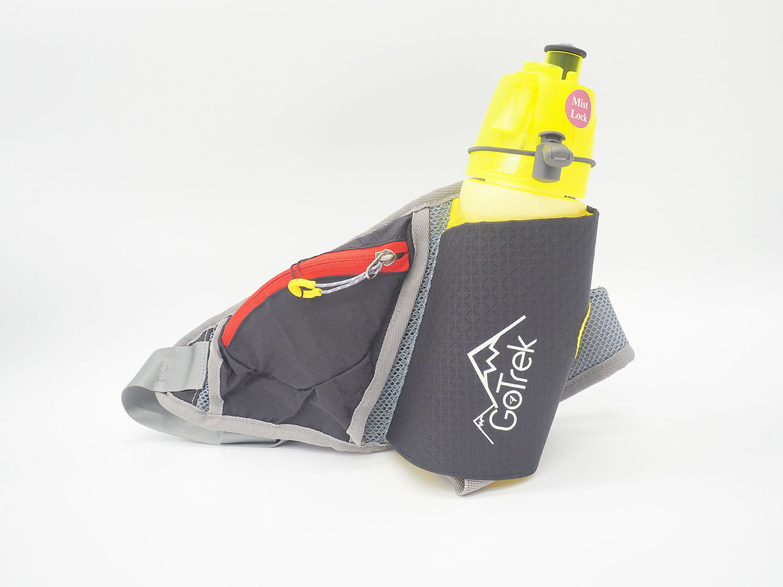 Gotrek B-02W กระเป๋าคาดเอวใส่กระบอกน้ำสำหรับใส่วิ่ง สีดำ