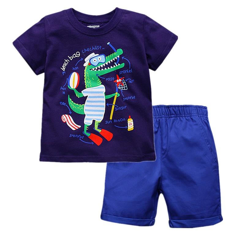 W040 : Set 2 ชิ้น เสื้อแขนสั้นสีน้ำเงินลายจระเข้ + กางเกงขาสั้นสีน้ำเงิน(1,2,3,5,6)