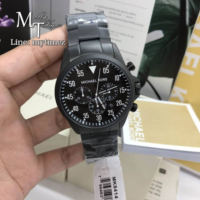นาฬิกาข้อมือ MICHAEL KORS รุ่น Gage Black Ion-Plated Stainless Steel Chronograph Men's Watch MK8414