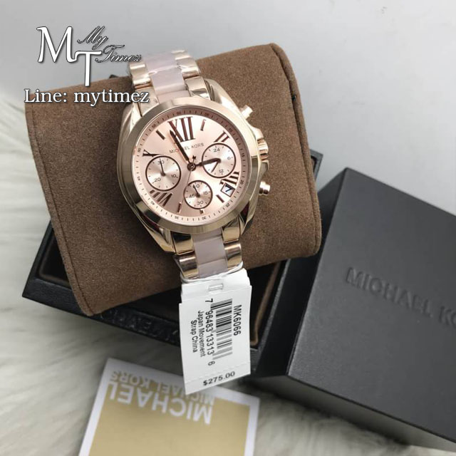 นาฬิกาข้อมือ MICHAEL KORS รุ่น Bradshaw Mini Chronograph Rose Dial Rose Gold-tone Ladies Watch MK6066