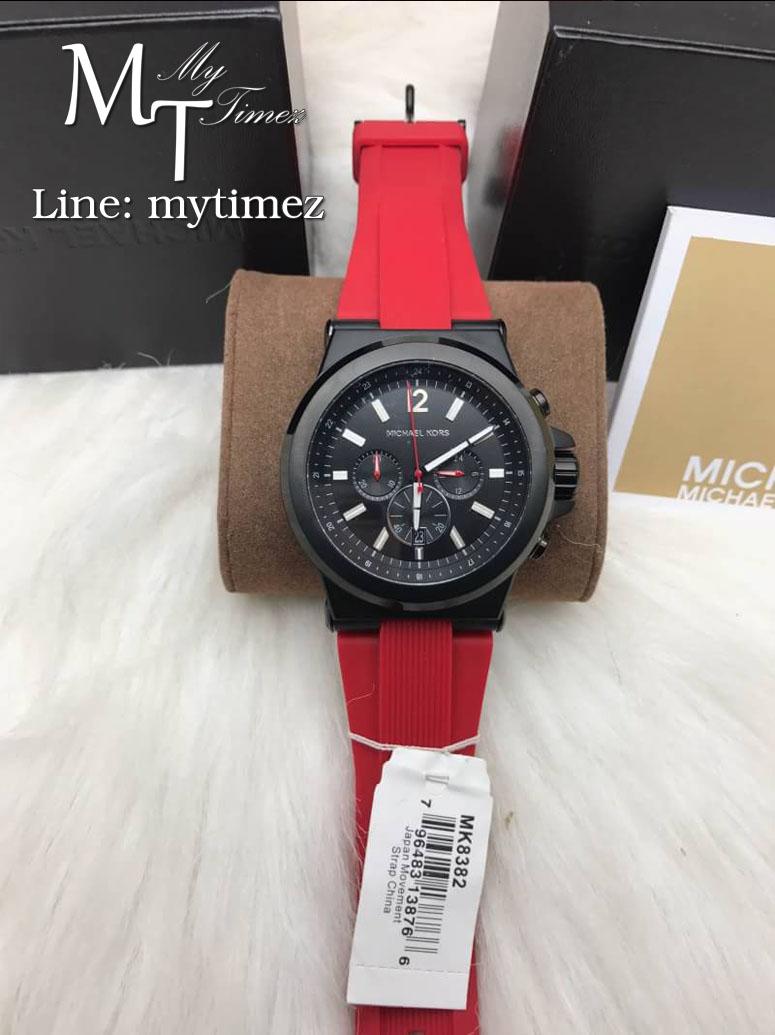 นาฬิกาข้อมือ MICHAEL KORS รุ่น Dylan Chronograph Black Dial Red Silicone Men's Watch MK8382