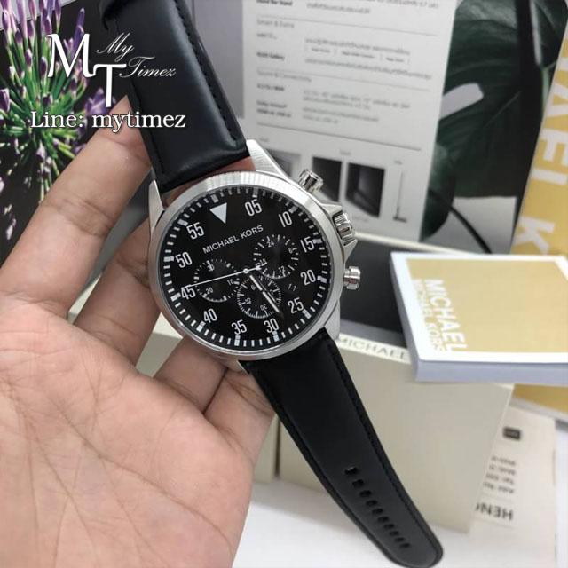นาฬิกาข้อมือ MICHAEL KORS รุ่น Gage Chronograph Black Dial Black Leather Men's Watch MK8442