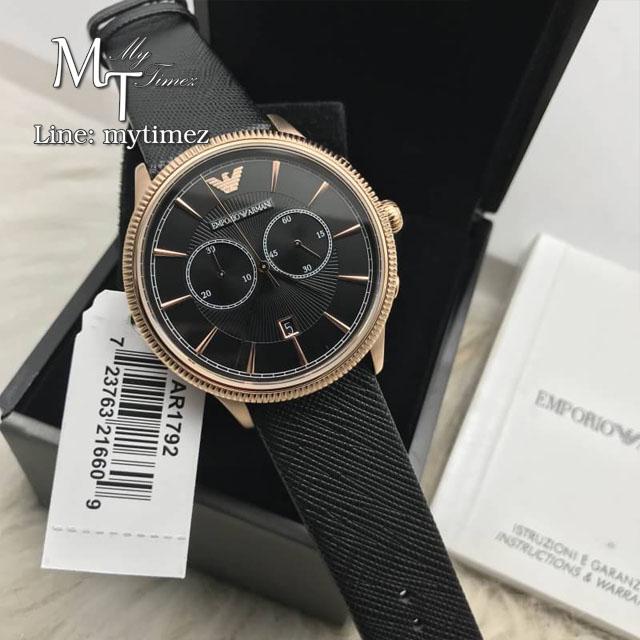 EMPORIO ARMANI Classic Chronograph Black Dial Black Leather Men's Watch AR1792