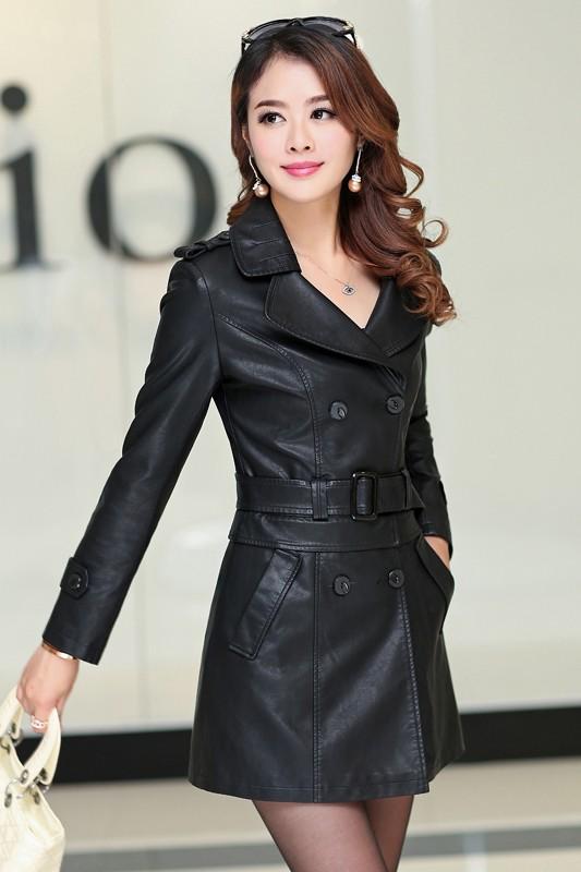 เสื้อโค้ทหนัง เสื้อกันหนาว เสื้อแจ็คเก็ตหนัง พร้อมส่ง สีดำ คอปก หนัง PU คุณภาพพรีเมี่ยม ตัวยาวคลุมสะโพก มีเข็มขัดเข้ากับตัวชุด ติดกระดุม 2 แถวคู่เก๋ สามารถแยกใส่เป็น