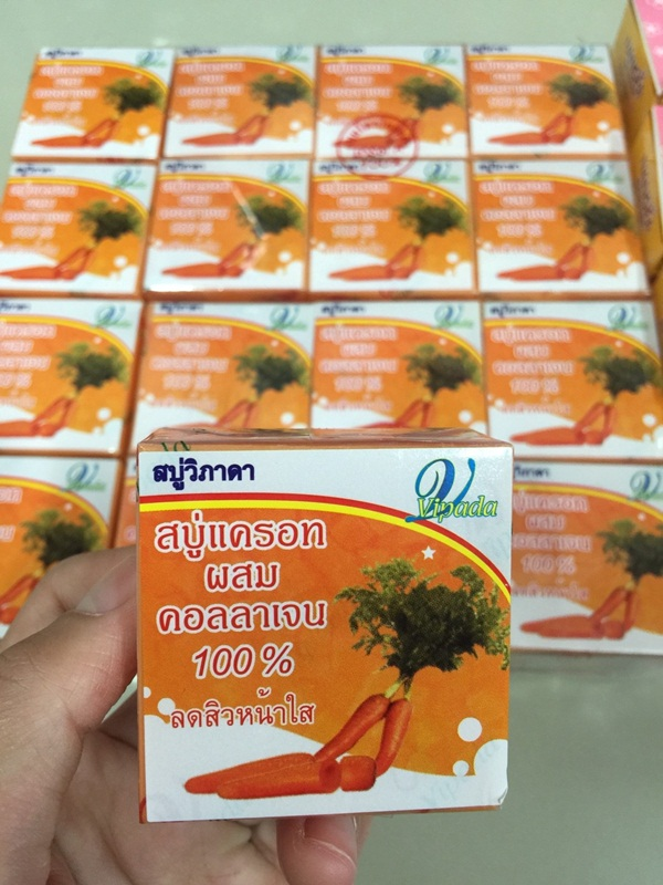 Carrot Soap by Vipada สบู่แครอทผสมคอลลาเจน 100% byวิภาดา