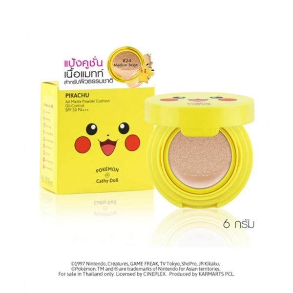 Cathy Doll Pokemon Edition AA Matte Powder Cushion Oil Control SPF50 PA+++ เคที่ดอลล์ โปเกมอน อิดิชั่น เอเอแมทท์ พาวเดอร์ คูชั่น ออยล์ คอนโทรล เอสพีเอฟ50 พีเอ+++