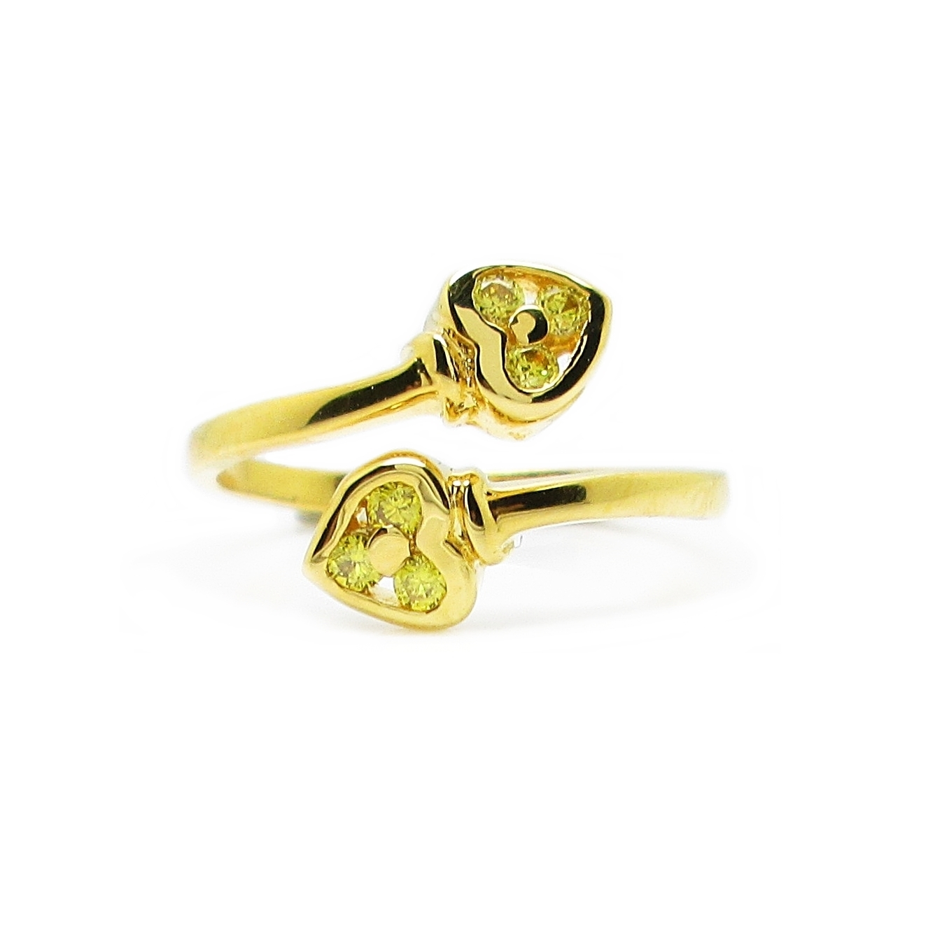 แหวนฟรีไซส์หัวใจประดับพลอยบุศราคัมชุบทอง
