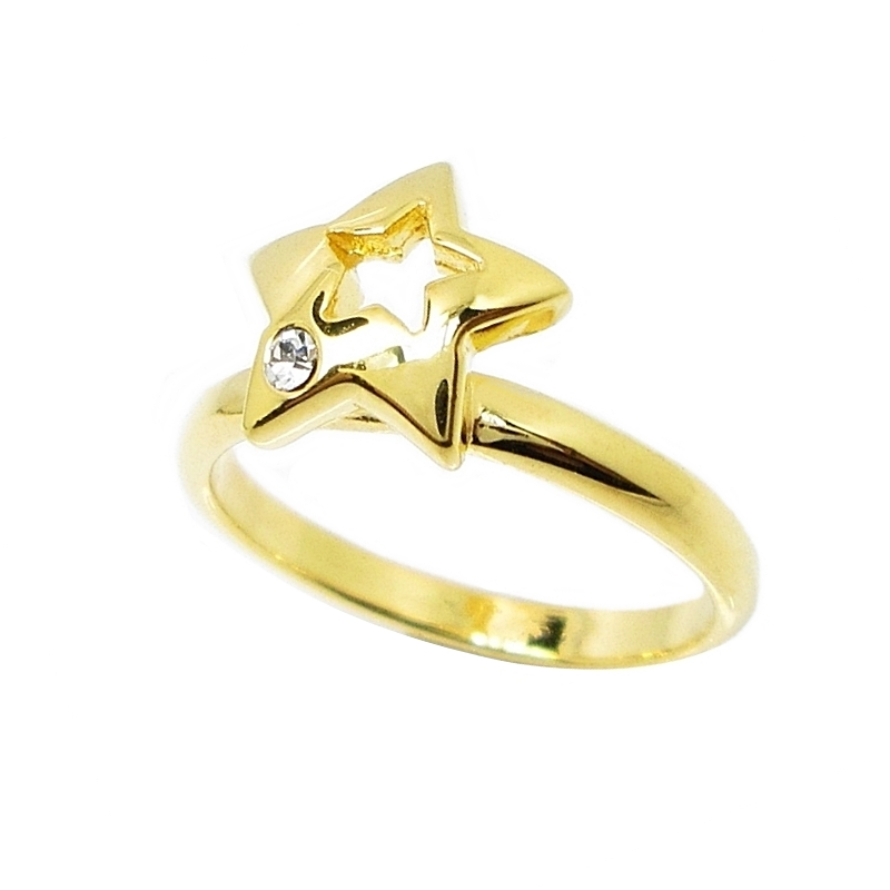 แหวนดาวประดับคริสตัลชุบทอง