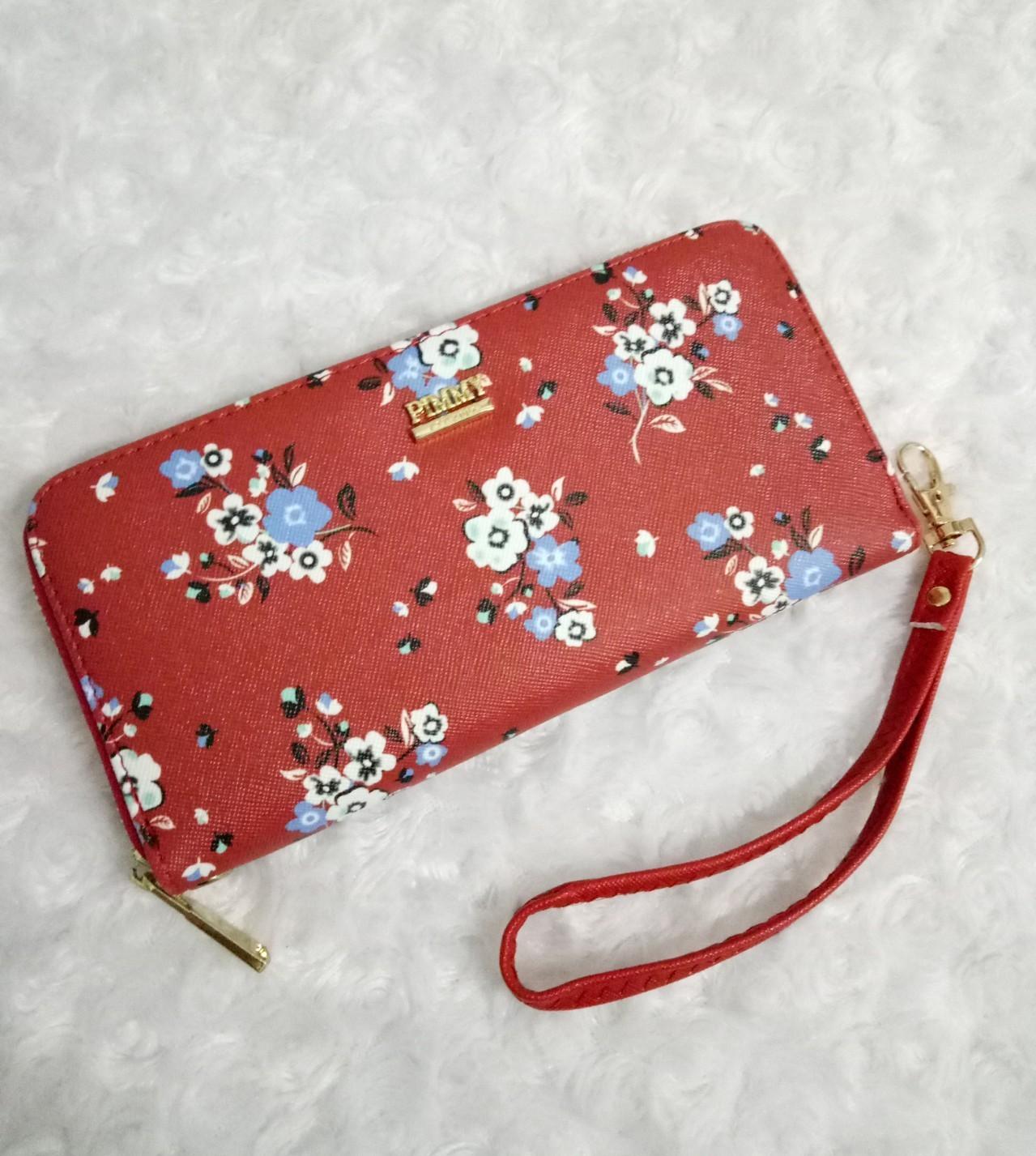 กระเป๋าสตางค์ซิปรอบลายดอก pimmy มีสายสั้นคล้องข้อมือ