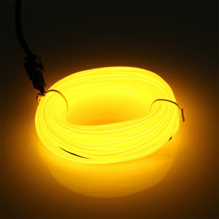 EL Wire 5 เมตร + รางถ่าน AA 2 ก้อน / สีเหลือง