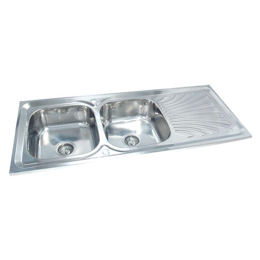 DH-12050-B ซิ้งค์ล้างจาน สองหลุม สแตนเลส อ่างล้างจาน มีที่พักจาน sink 0.7mm.