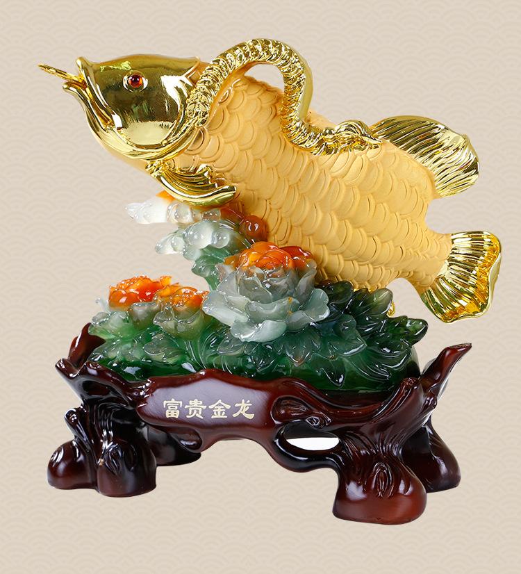 ปลามังกรทองกับดอกโบตั๋น ขนาด 30*13*30cm GD15