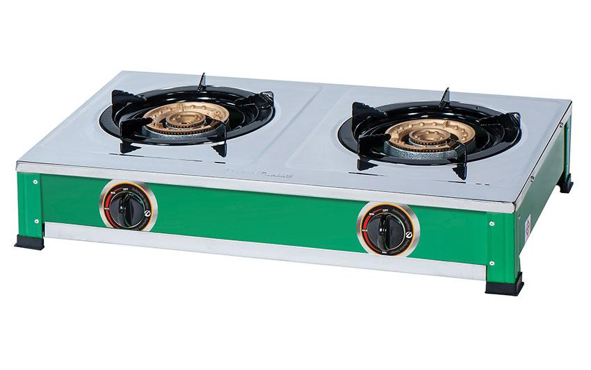 LK-227-C เตาแก๊ส เตาแก๊สสแตนเลส แบบตั้งโต๊ะ หัวเตาแก๊สเหล็กหล่อ 2 หัวเตา 130 มม. แบบตั้งโต๊ะ