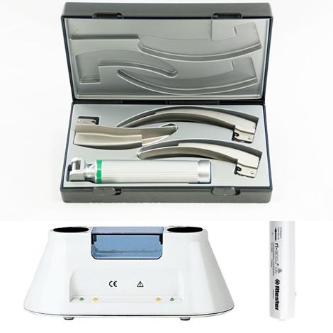 ชุดส่องหลอดลม Ri-Integral Laryngoscope set macintosh 2,3,4 XL 3.5 v พร้อมแท่นชาร์จและถ่านชาร์จ ,Riester