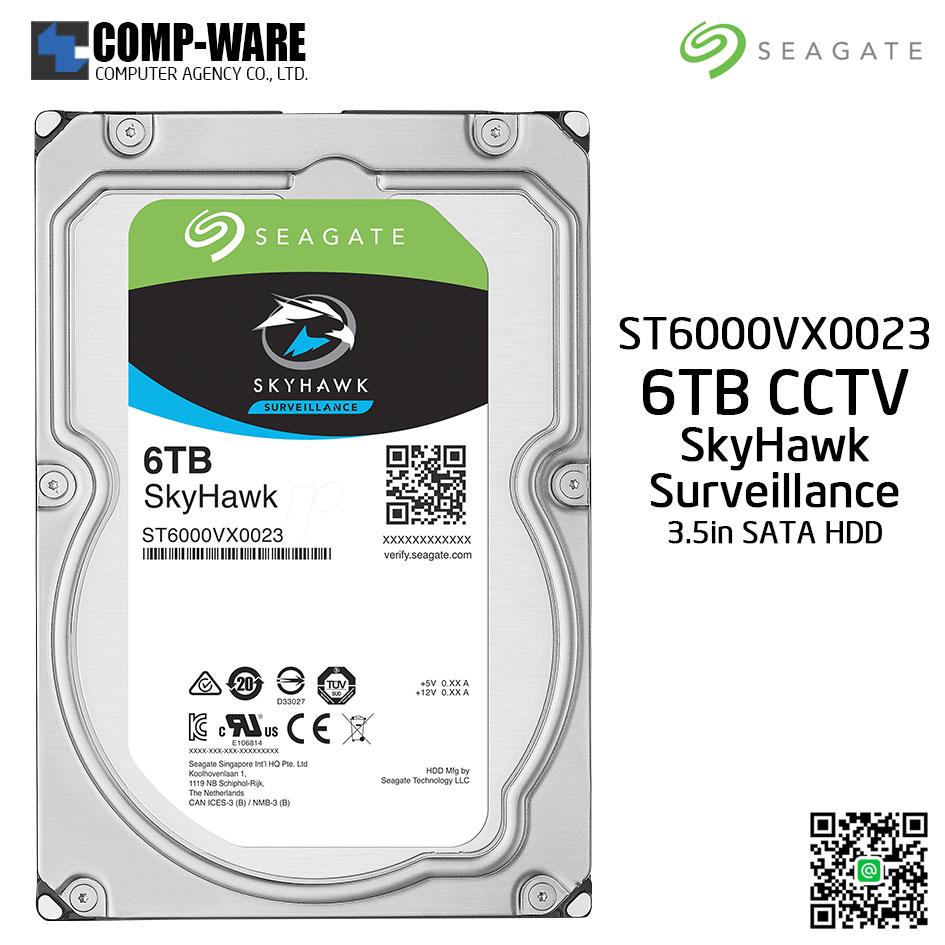 Seagate 6TB SkyHawk Surveillance Hard Drive - SATA 6Gb/s 7200RPM 256MB Cache 3.5-Inch Internal Drive (ST6000VX0023)